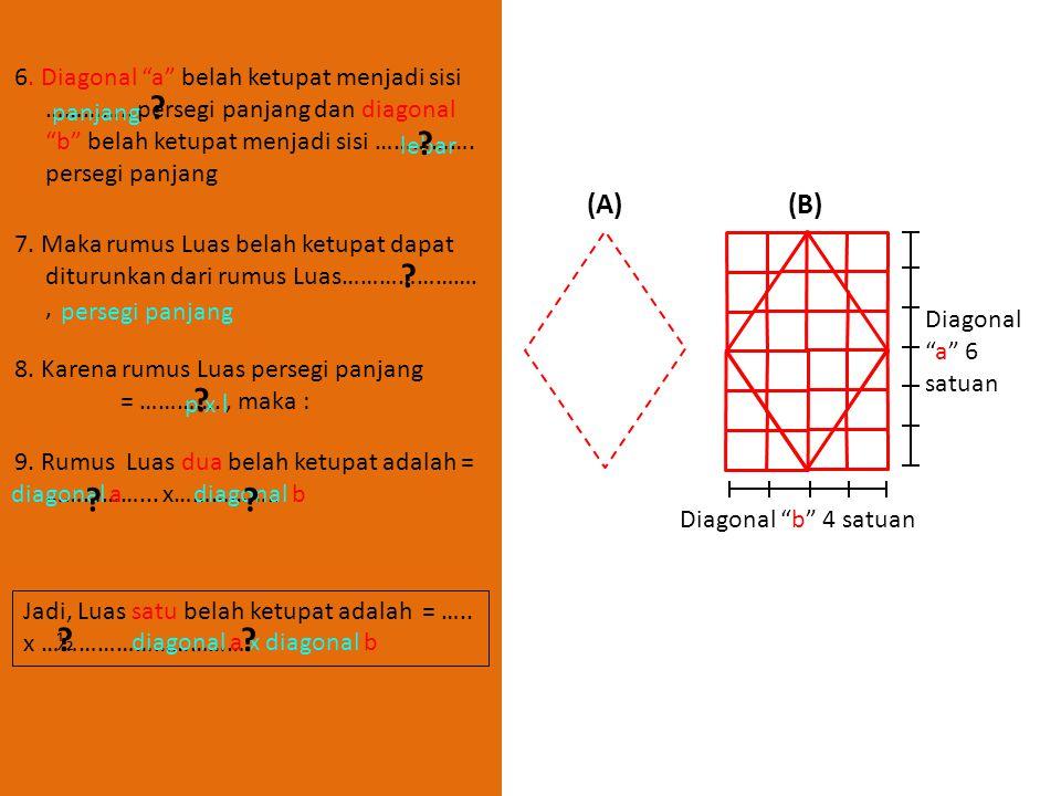 """LUAS DAERAH BELAH KETUPAT LANGKAH-LANGKAH : 1. Gambar dua buah trapesium yang kongruen dengan alas dan tinggi sebarang ! (A)(B) Diagonal """"a"""" 6 satuan"""