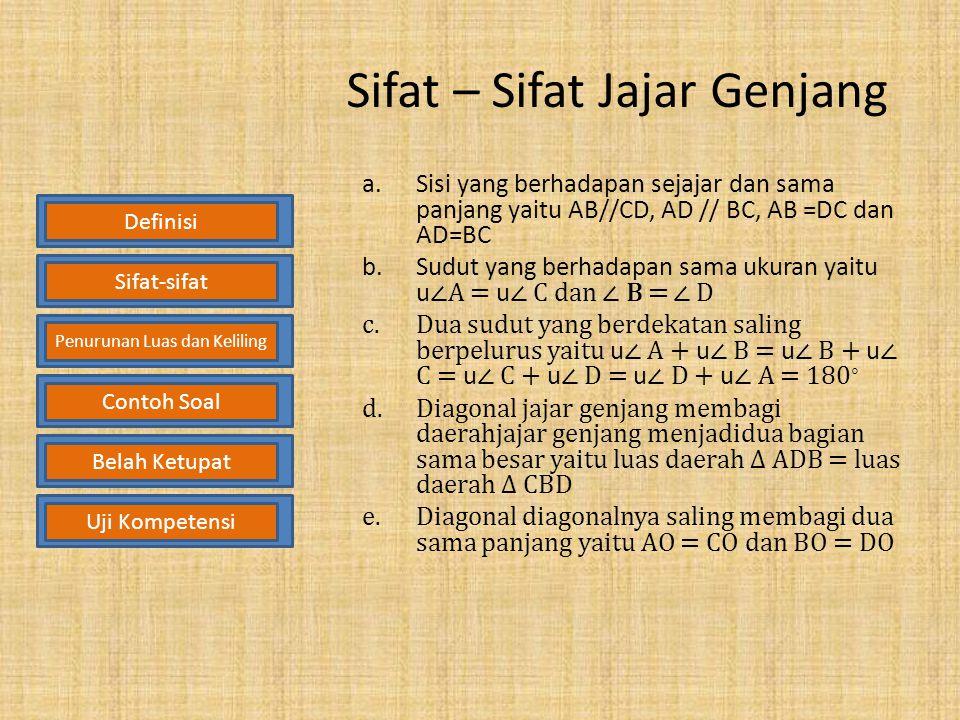 Definisi Jajar Genjang Jajar Genjang adalah segi empat yang setiap pasang sisinya yang berhadapan sejajar. A B CD DefinisiSifat-sifat Penurunan Luas d