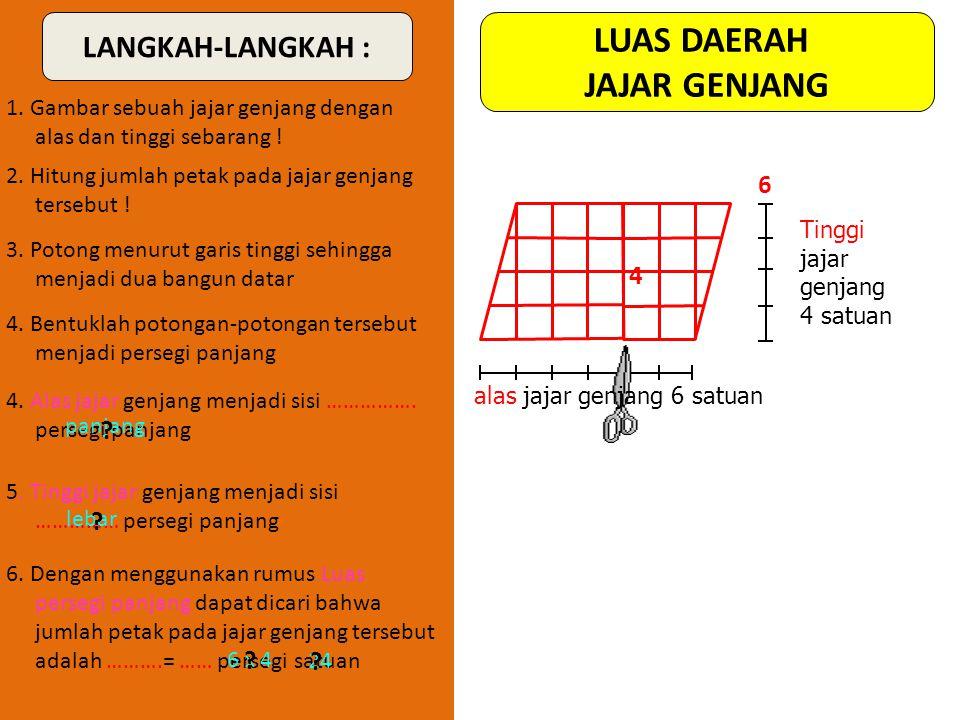 LANGKAH-LANGKAH : 1. Gambarlah sebuah jajargenjang dengan ukuran alas dan tinggi sebarang pada kertas petak ! 4. Potong menurut salah satu garis diago