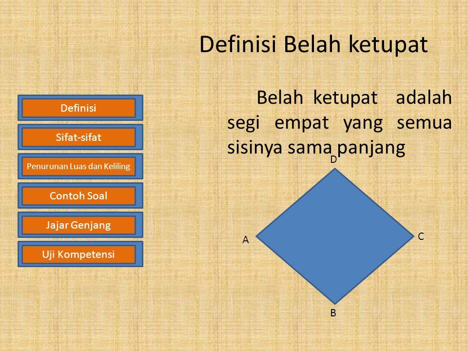 Contoh soal Hitunglah luas daerah jajargenjang ABCD di samping ini! Penyelesaian: Diketahui : AB = 10 m dan tinggi = 8 m Ditanya : Luas daerah jajarge