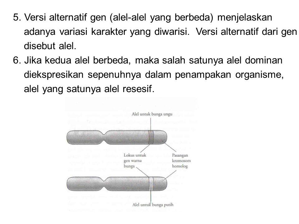 5.Versi alternatif gen (alel-alel yang berbeda) menjelaskan adanya variasi karakter yang diwarisi. Versi alternatif dari gen disebut alel. 6.Jika kedu