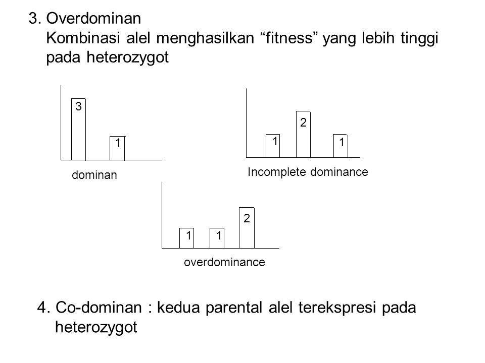 """3. Overdominan Kombinasi alel menghasilkan """"fitness"""" yang lebih tinggi pada heterozygot 3 1 dominan 1 2 1 Incomplete dominance 11 2 overdominance 4.Co"""