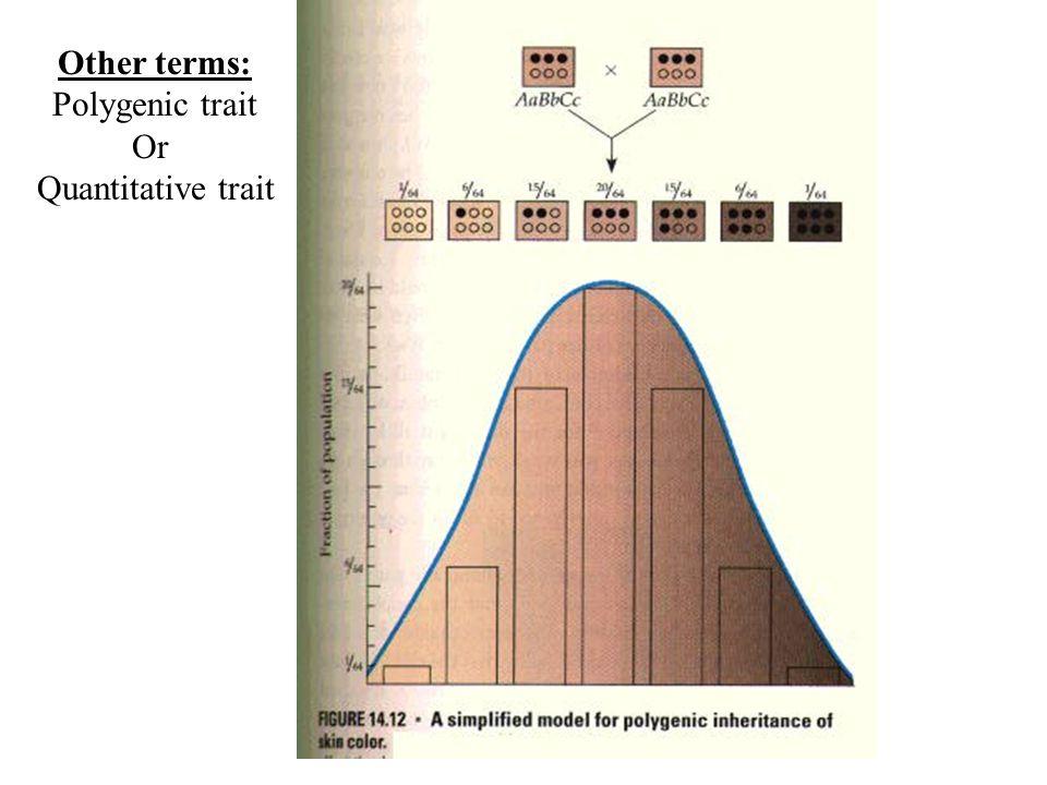 Other terms: Polygenic trait Or Quantitative trait