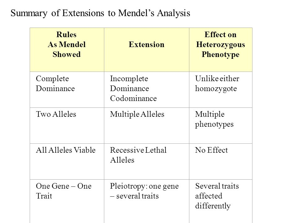 Summary of Extensions to Mendel's Analysis Rules As Mendel Showed Extension Effect on Heterozygous Phenotype Complete Dominance Incomplete Dominance C