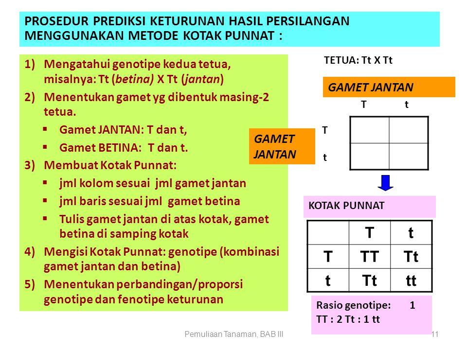 Pemuliaan Tanaman, BAB III11 PROSEDUR PREDIKSI KETURUNAN HASIL PERSILANGAN MENGGUNAKAN METODE KOTAK PUNNAT : 1)Mengatahui genotipe kedua tetua, misaln