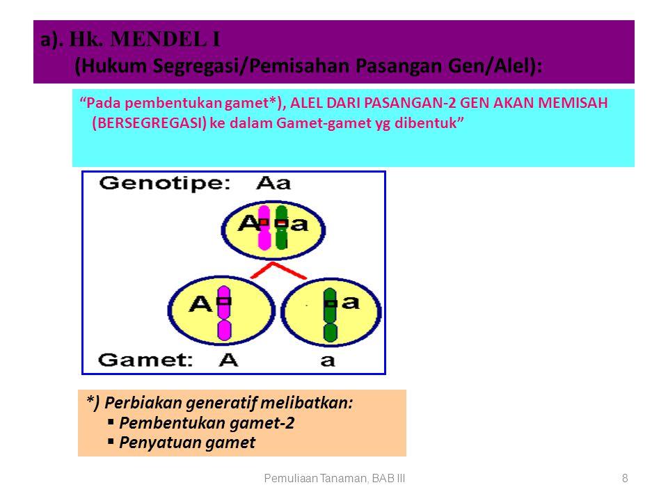 """Pemuliaan Tanaman, BAB III8 a). Hk. MENDEL I (Hukum Segregasi/Pemisahan Pasangan Gen/Alel): """"Pada pembentukan gamet*), ALEL DARI PASANGAN-2 GEN AKAN M"""