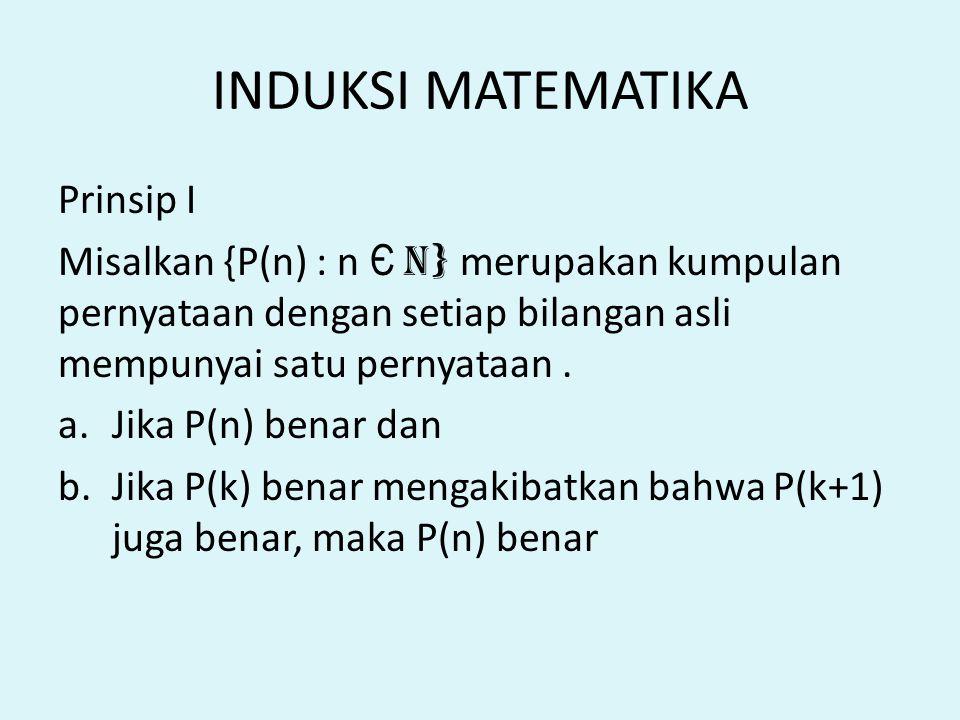 INDUKSI MATEMATIKA Prinsip I Misalkan {P(n) : n Є n } merupakan kumpulan pernyataan dengan setiap bilangan asli mempunyai satu pernyataan. a.Jika P(n)