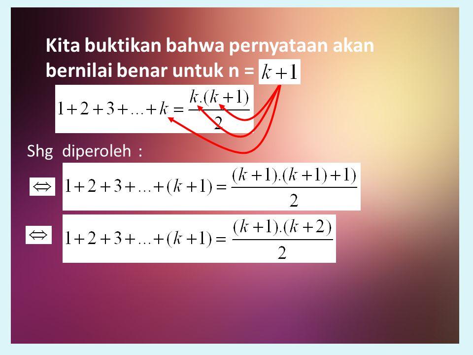 Dari Persamaan awal Kita tambahkan k + 1 pada ruas kiri dan kanan Sesuai dengan yang diperoleh pada pers.