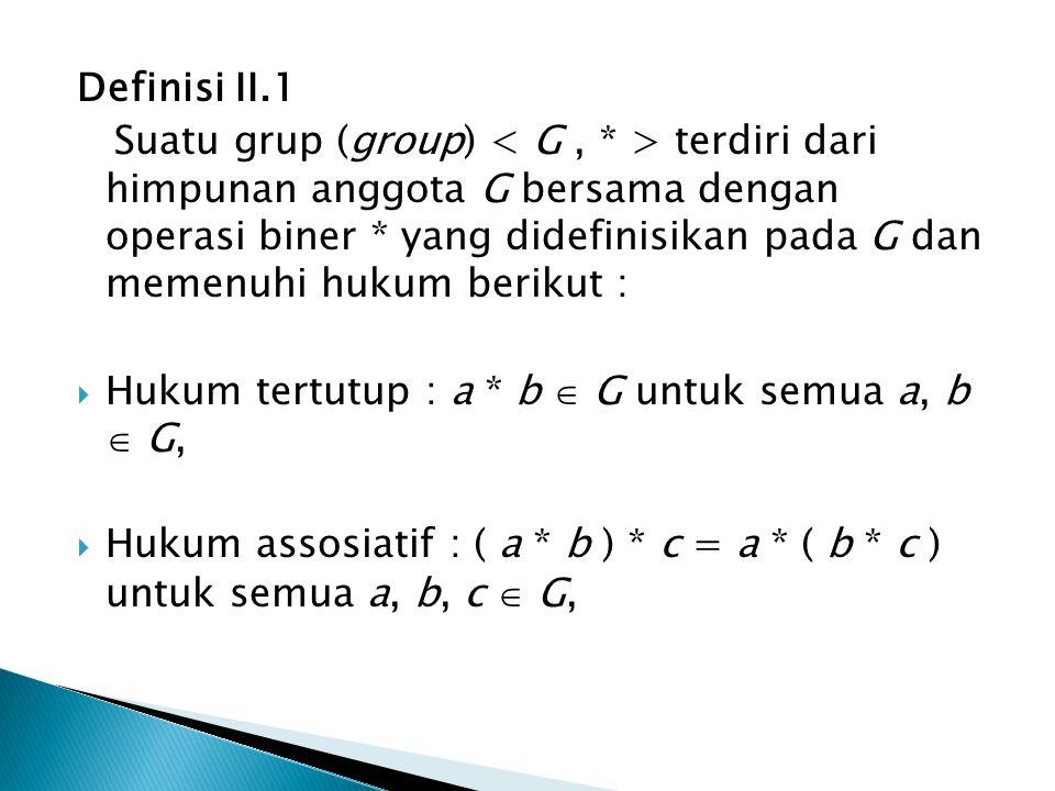 Definisi II.1 Suatu grup (group) terdiri dari himpunan anggota G bersama dengan operasi biner * yang didefinisikan pada G dan memenuhi hukum berikut :