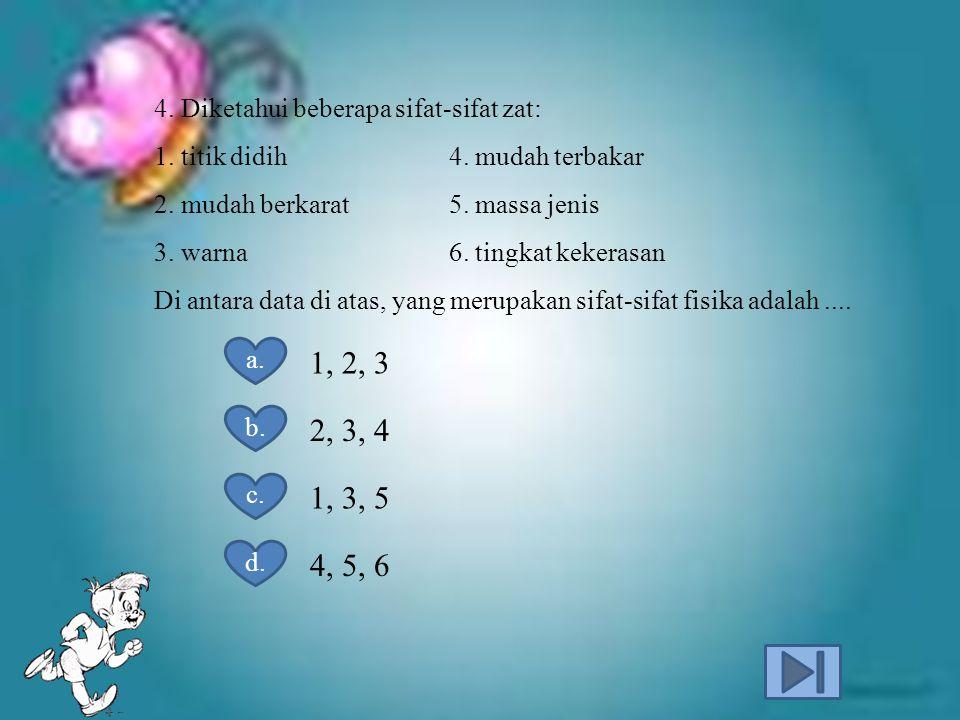 4.Diketahui beberapa sifat-sifat zat: 1. titik didih 4.