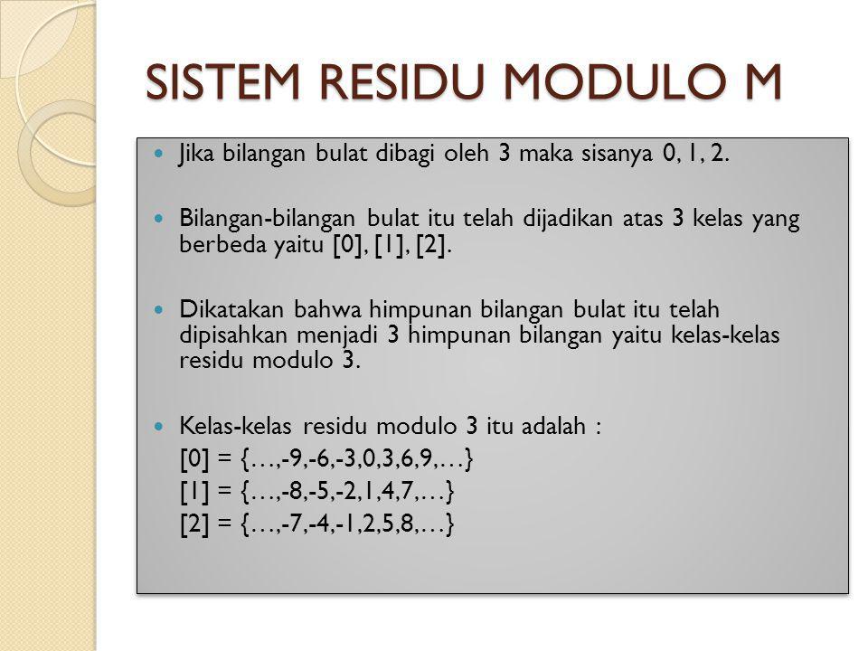 SISTEM RESIDU MODULO M Jika bilangan bulat dibagi oleh 3 maka sisanya 0, 1, 2. Bilangan-bilangan bulat itu telah dijadikan atas 3 kelas yang berbeda y