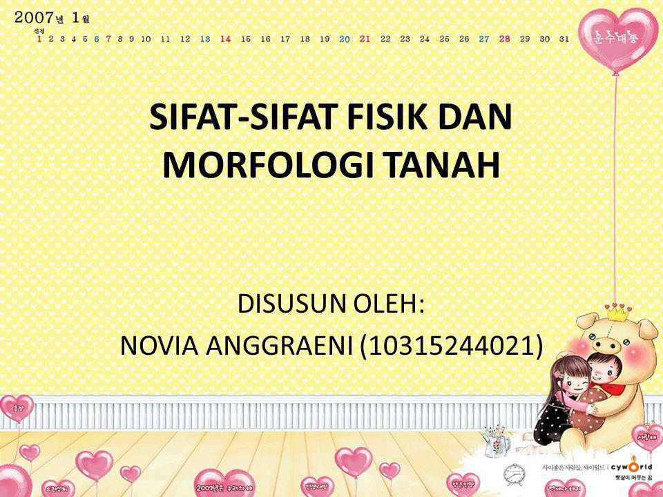 SIFAT-SIFAT FISIK DAN MORFOLOGI TANAH DISUSUN OLEH: NOVIA ANGGRAENI (10315244021)