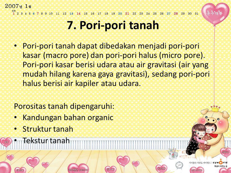 7. Pori-pori tanah Pori-pori tanah dapat dibedakan menjadi pori-pori kasar (macro pore) dan pori-pori halus (micro pore). Pori-pori kasar berisi udara
