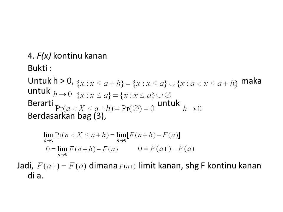 4. F(x) kontinu kanan Bukti : Untuk h > 0, maka untuk Berarti untuk Berdasarkan bag (3), Jadi, dimana limit kanan, shg F kontinu kanan di a.