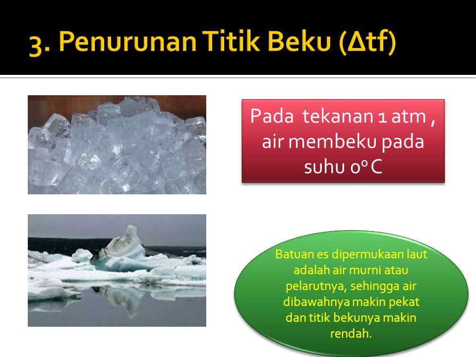 Pada tekanan 1 atm, air membeku pada suhu 0 0 C Batuan es dipermukaan laut adalah air murni atau pelarutnya, sehingga air dibawahnya makin pekat dan t