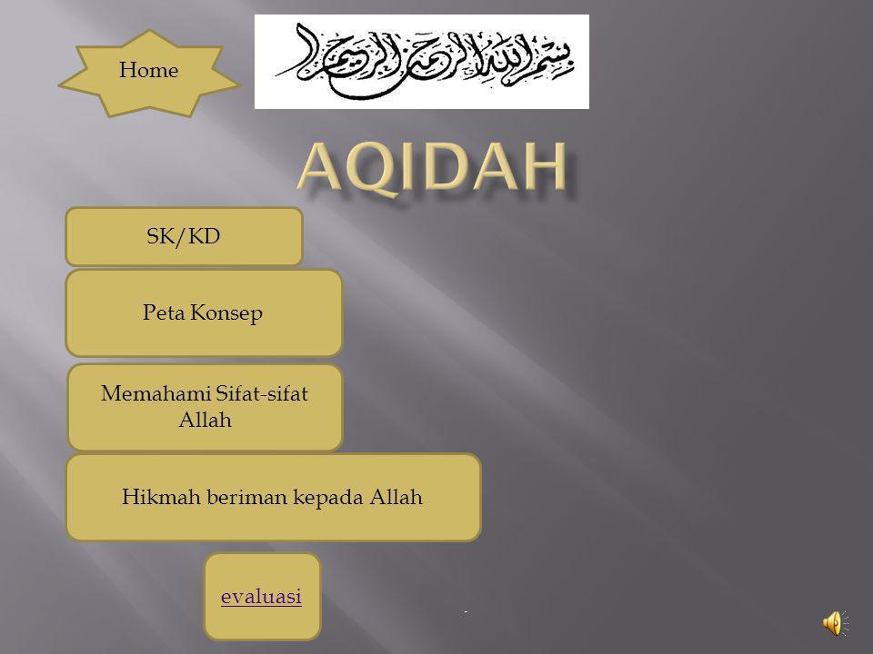 - evaluasi Memahami Sifat-sifat Allah Peta Konsep SK/KD Home Hikmah beriman kepada Allah