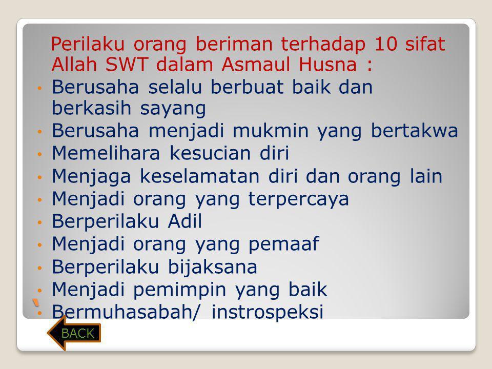 10 Contoh dari Al-Asmaul Husna 1. Ar-Rohman = Maha Pemurah 2. Ar-Rohim = Maha Penyayang 3. Al-Quddus = Mahasuci 4. As-Salam = Mahasejahtera 5. Al-Mu'm