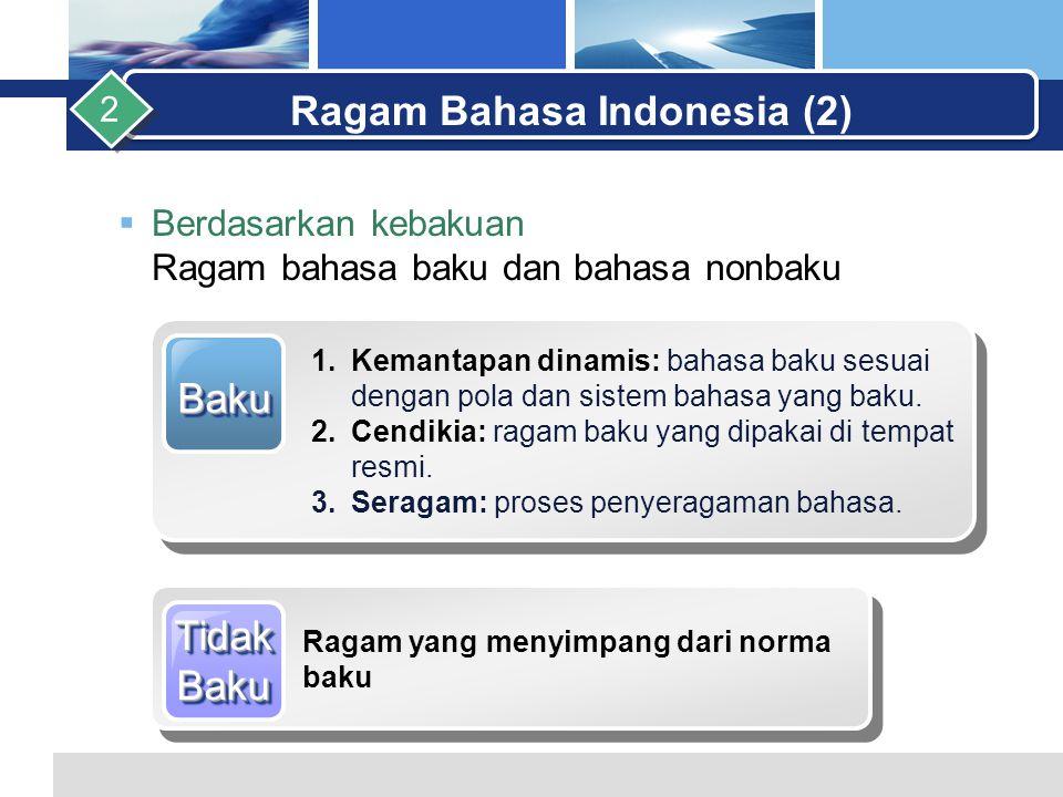 L o g o  Berdasarkan kebakuan Ragam bahasa baku dan bahasa nonbaku Ragam Bahasa Indonesia (2) 2 BakuBaku 1.Kemantapan dinamis: bahasa baku sesuai dengan pola dan sistem bahasa yang baku.