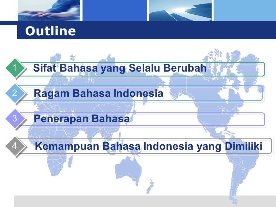 L o g o Outline Sifat Bahasa yang Selalu Berubah 1 Ragam Bahasa Indonesia 2 Penerapan Bahasa 3 Kemampuan Bahasa Indonesia yang Dimiliki 4