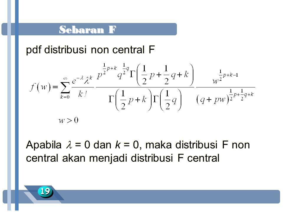 Sebaran F 1919 pdf distribusi non central F Apabila = 0 dan k = 0, maka distribusi F non central akan menjadi distribusi F central pdf distribusi non