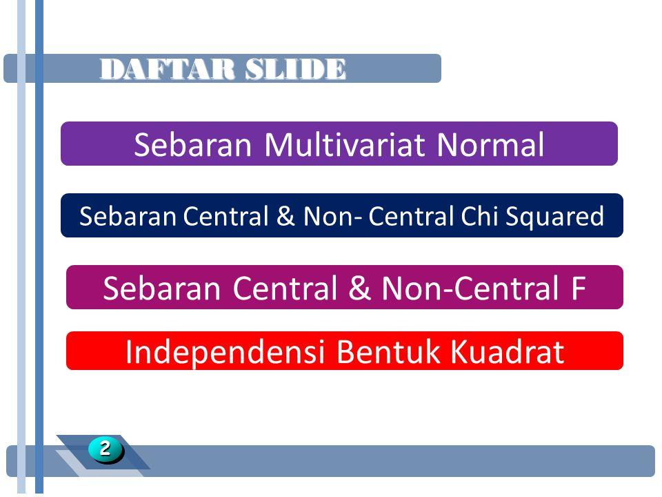 DAFTAR SLIDE Sebaran Multivariat Normal Sebaran Central & Non- Central Chi Squared Sebaran Central & Non-Central F 22 Independensi Bentuk Kuadrat