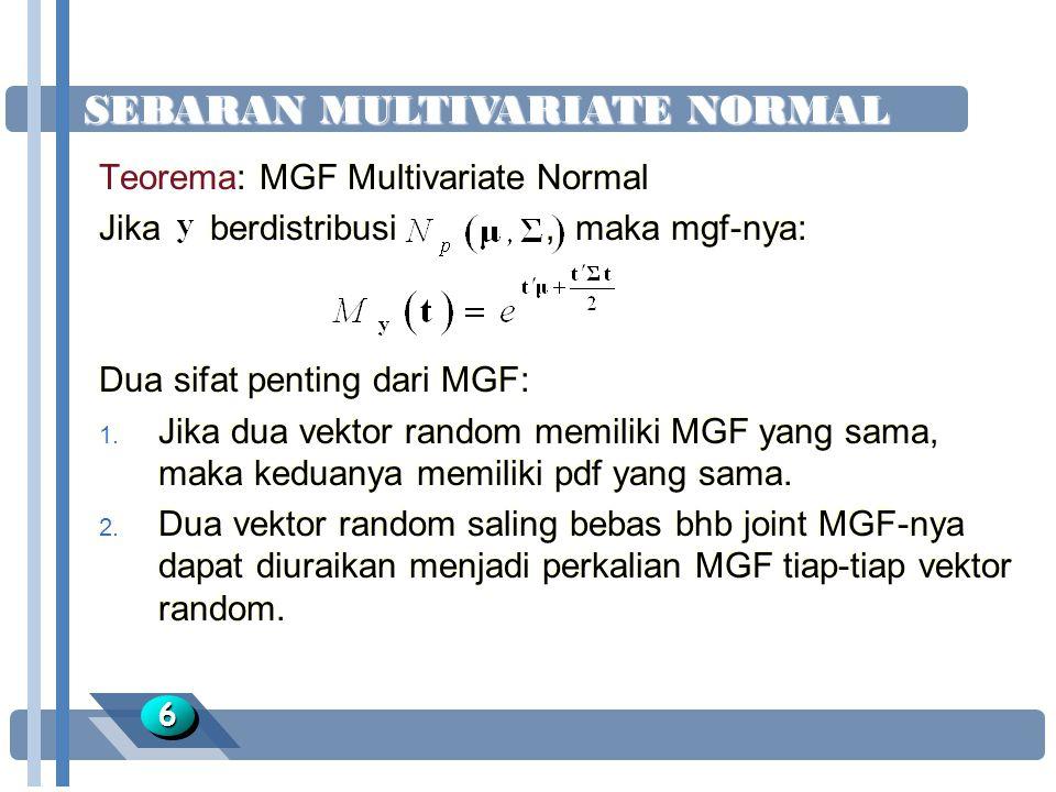 SEBARAN MULTIVARIATE NORMAL 66 Teorema: MGF Multivariate Normal Jika berdistribusi, maka mgf-nya: Dua sifat penting dari MGF: 1. Jika dua vektor rando
