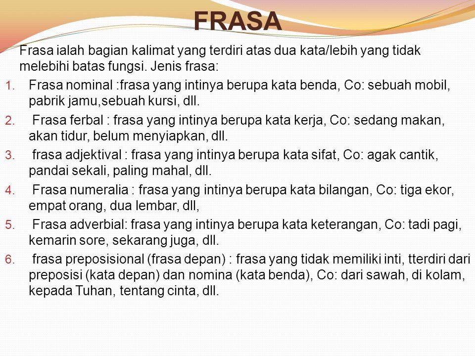FRASA Frasa ialah bagian kalimat yang terdiri atas dua kata/lebih yang tidak melebihi batas fungsi.