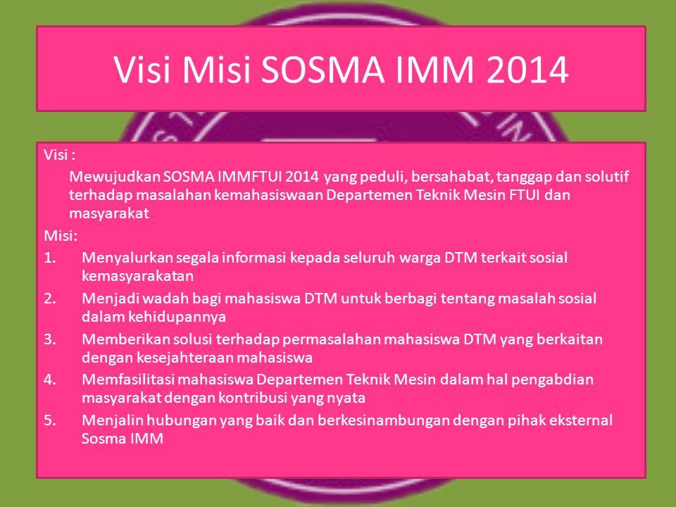 Visi Misi SOSMA IMM 2014 Visi : Mewujudkan SOSMA IMMFTUI 2014 yang peduli, bersahabat, tanggap dan solutif terhadap masalahan kemahasiswaan Departemen