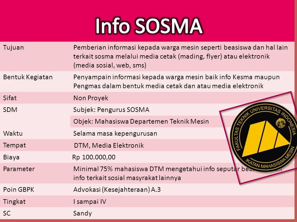 TujuanPemberian informasi kepada warga mesin seperti beasiswa dan hal lain terkait sosma melalui media cetak (mading, flyer) atau elektronik (media so