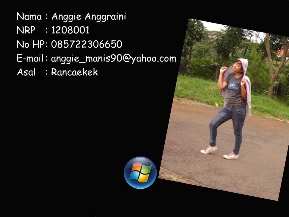 Nama: Anggie Anggraini NRP: 1208001 No HP: 085722306650 E-mail: anggie_manis90@yahoo.com Asal: Rancaekek
