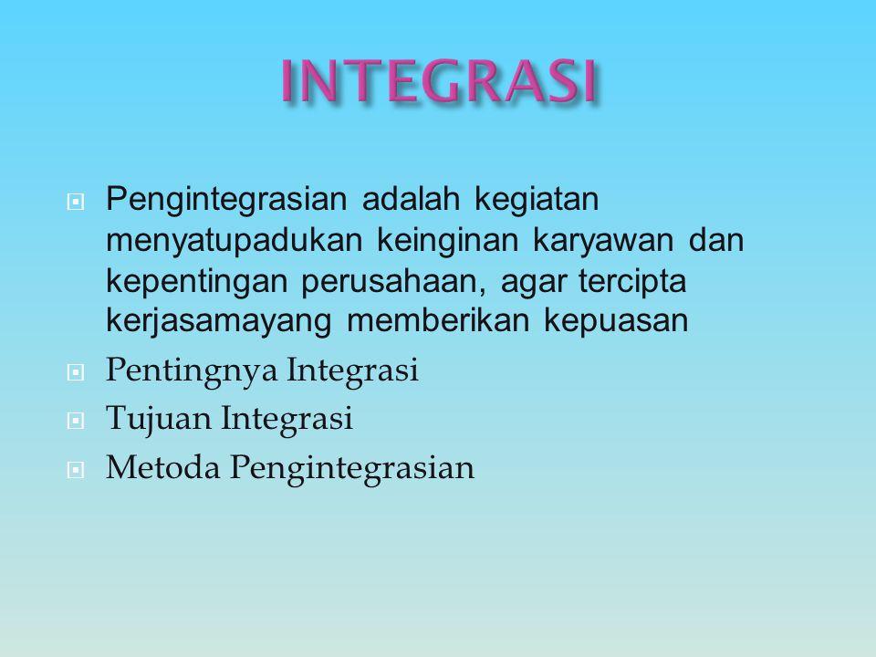 PPengintegrasian adalah kegiatan menyatupadukan keinginan karyawan dan kepentingan perusahaan, agar tercipta kerjasamayang memberikan kepuasan PPe