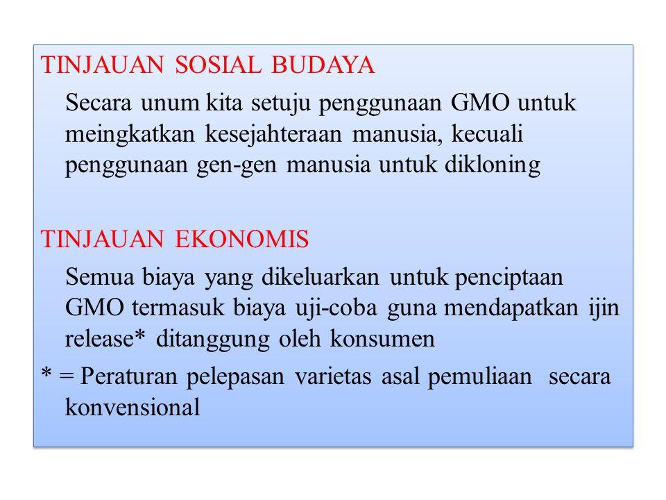 TINJAUAN SOSIAL BUDAYA Secara unum kita setuju penggunaan GMO untuk meingkatkan kesejahteraan manusia, kecuali penggunaan gen-gen manusia untuk dikloning TINJAUAN EKONOMIS Semua biaya yang dikeluarkan untuk penciptaan GMO termasuk biaya uji-coba guna mendapatkan ijin release* ditanggung oleh konsumen * = Peraturan pelepasan varietas asal pemuliaan secara konvensional TINJAUAN SOSIAL BUDAYA Secara unum kita setuju penggunaan GMO untuk meingkatkan kesejahteraan manusia, kecuali penggunaan gen-gen manusia untuk dikloning TINJAUAN EKONOMIS Semua biaya yang dikeluarkan untuk penciptaan GMO termasuk biaya uji-coba guna mendapatkan ijin release* ditanggung oleh konsumen * = Peraturan pelepasan varietas asal pemuliaan secara konvensional