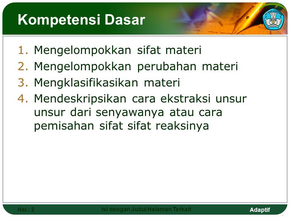 Adaptif Kompetensi Dasar 1.Mengelompokkan sifat materi 2.Mengelompokkan perubahan materi 3.Mengklasifikasikan materi 4.Mendeskripsikan cara ekstraksi