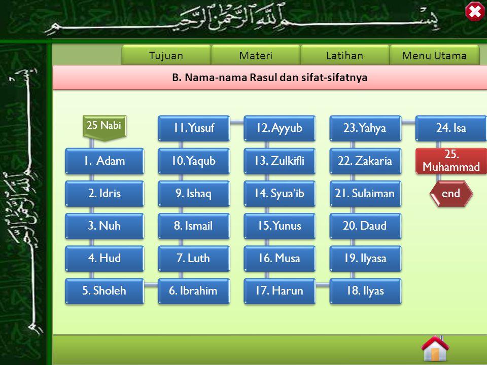 Tujuan Materi Latihan Menu Utama B.Nama-nama Rasul dan sifat-sifatnya 25 Nabi 1.