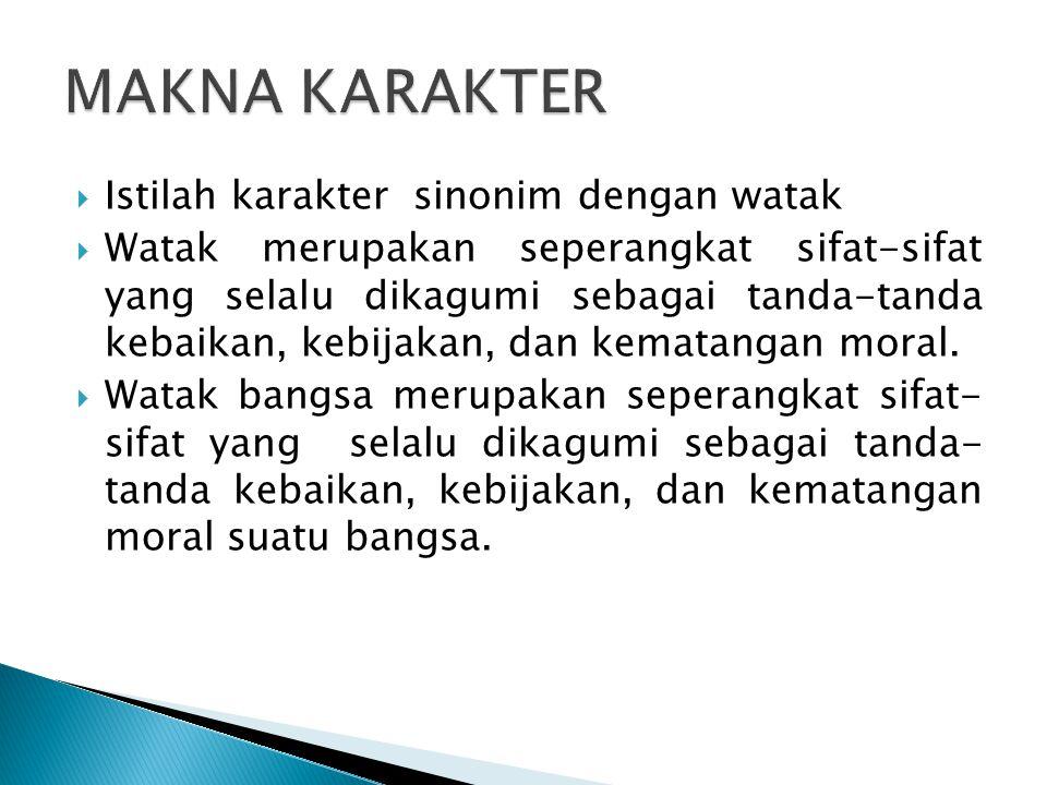  Istilah karakter sinonim dengan watak  Watak merupakan seperangkat sifat-sifat yang selalu dikagumi sebagai tanda-tanda kebaikan, kebijakan, dan ke