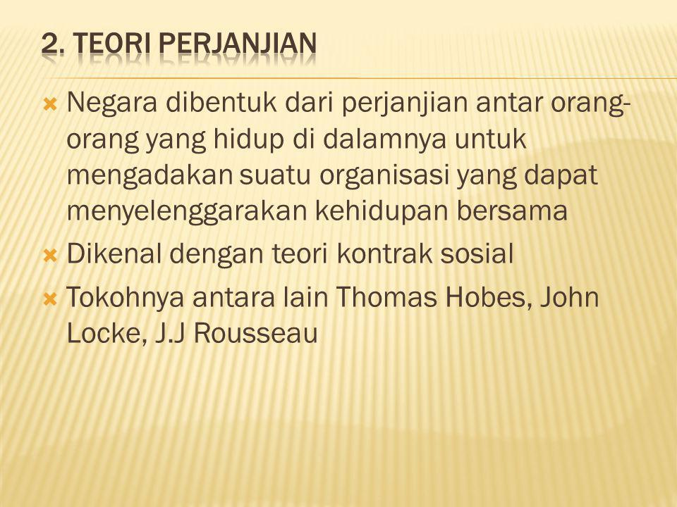  Negara dibentuk dari perjanjian antar orang- orang yang hidup di dalamnya untuk mengadakan suatu organisasi yang dapat menyelenggarakan kehidupan bersama  Dikenal dengan teori kontrak sosial  Tokohnya antara lain Thomas Hobes, John Locke, J.J Rousseau