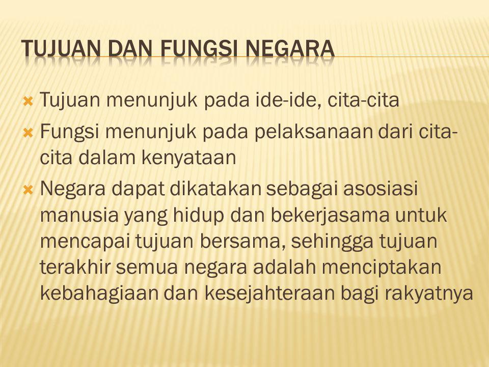  Tujuan menunjuk pada ide-ide, cita-cita  Fungsi menunjuk pada pelaksanaan dari cita- cita dalam kenyataan  Negara dapat dikatakan sebagai asosiasi
