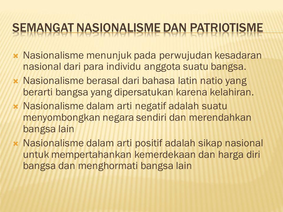  Nasionalisme menunjuk pada perwujudan kesadaran nasional dari para individu anggota suatu bangsa.  Nasionalisme berasal dari bahasa latin natio yan