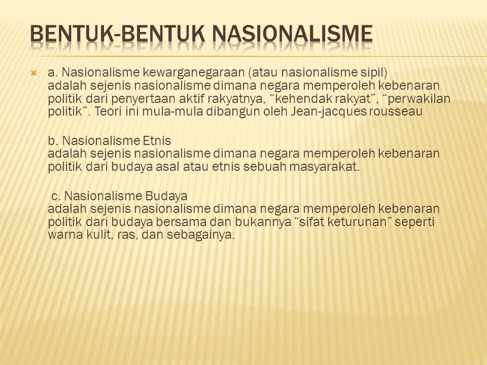  a. Nasionalisme kewarganegaraan (atau nasionalisme sipil) adalah sejenis nasionalisme dimana negara memperoleh kebenaran politik dari penyertaan akt