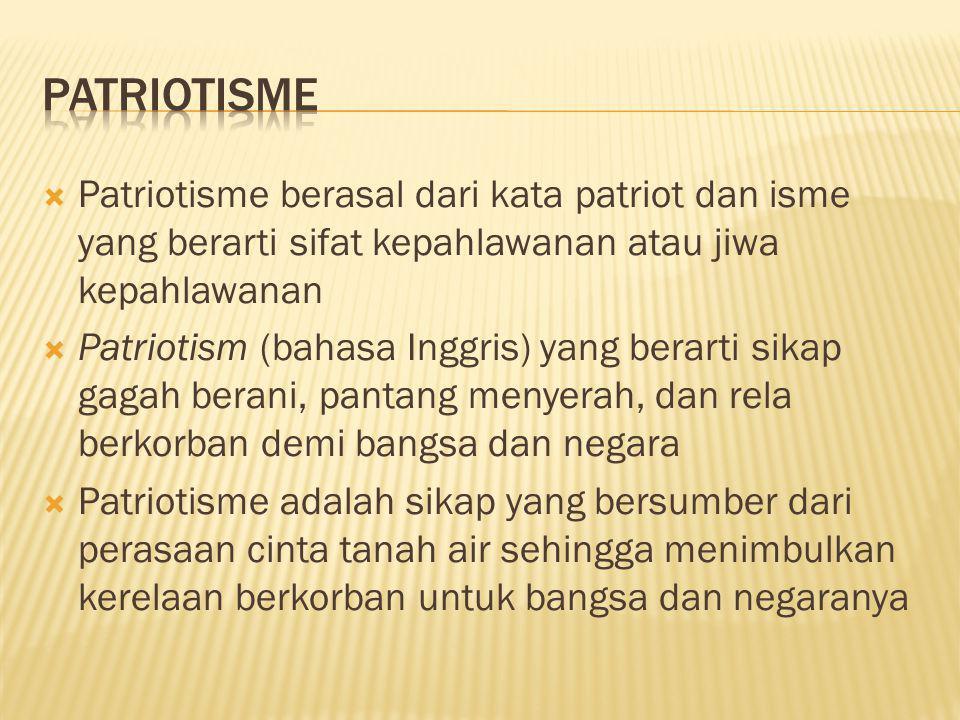  Patriotisme berasal dari kata patriot dan isme yang berarti sifat kepahlawanan atau jiwa kepahlawanan  Patriotism (bahasa Inggris) yang berarti sik