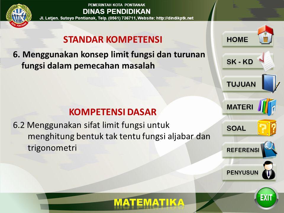 PEMERINTAH KOTA PONTIANAK DINAS PENDIDIKAN Jl. Letjen. Sutoyo Pontianak, Telp. (0561) 736711, Website: http://dindikptk.net Limit Fungsi Trigonometri