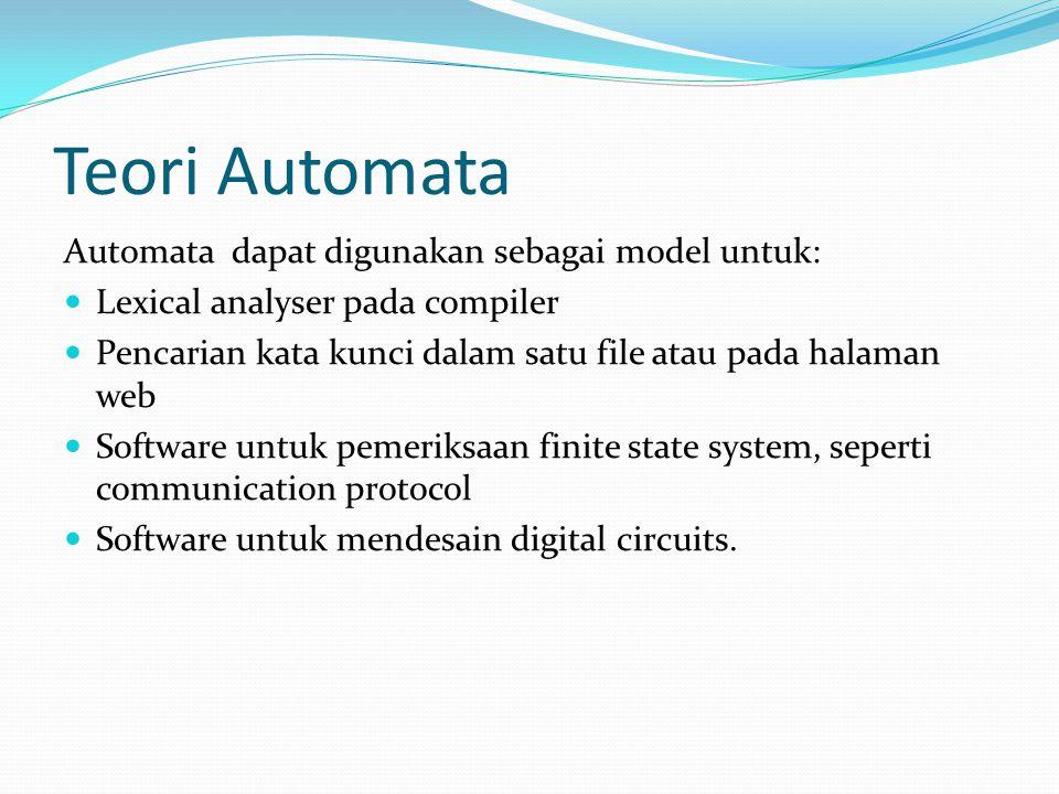 Teori Automata Automata dapat digunakan sebagai model untuk: Lexical analyser pada compiler Pencarian kata kunci dalam satu file atau pada halaman web