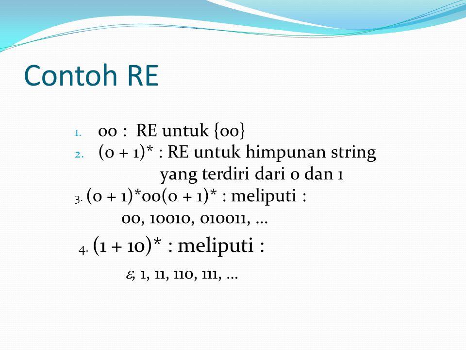 Contoh RE 1. 00 : RE untuk {00} 2. (0 + 1)* : RE untuk himpunan string yang terdiri dari 0 dan 1 3. (0 + 1)*00(0 + 1)* : meliputi : 00, 10010, 010011,