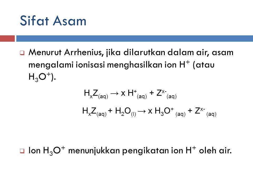 Sifat Asam  Menurut Arrhenius, jika dilarutkan dalam air, asam mengalami ionisasi menghasilkan ion H + (atau H 3 O + ).  Ion H 3 O + menunjukkan pen