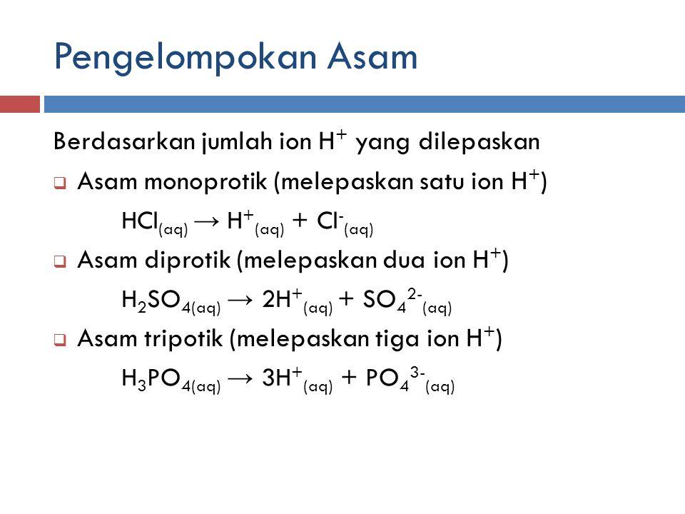 Pengelompokan Asam Berdasarkan jumlah ion H + yang dilepaskan  Asam monoprotik (melepaskan satu ion H + ) HCl (aq) → H + (aq) + Cl - (aq)  Asam dipr