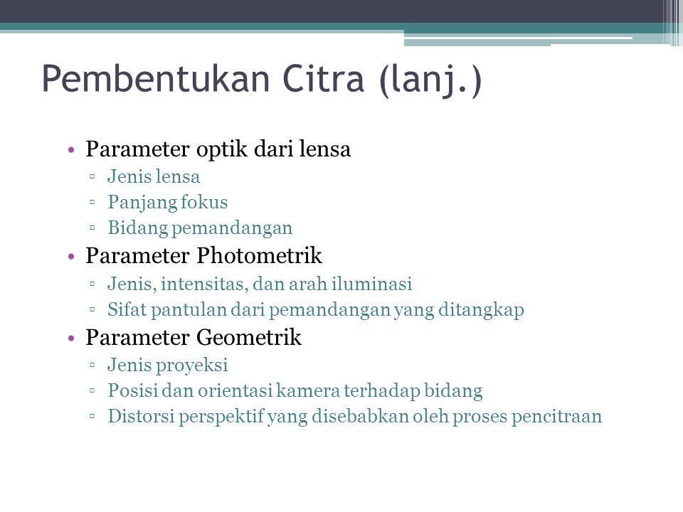 Pembentukan Citra (lanj.) Parameter optik dari lensa ▫Jenis lensa ▫Panjang fokus ▫Bidang pemandangan Parameter Photometrik ▫Jenis, intensitas, dan ara