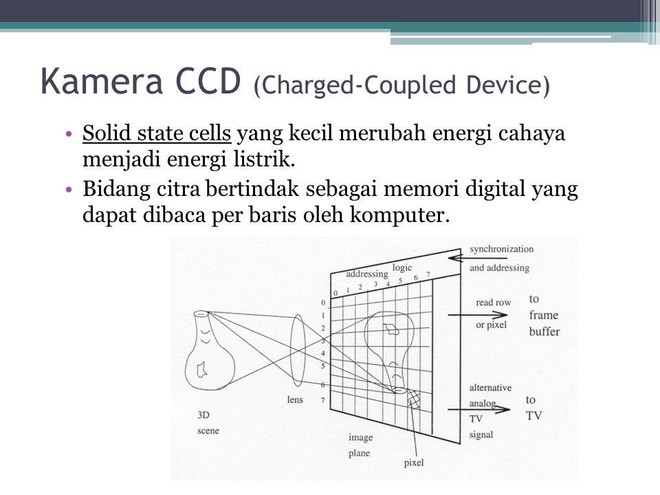 Kamera CCD (Charged-Coupled Device) Solid state cells yang kecil merubah energi cahaya menjadi energi listrik. Bidang citra bertindak sebagai memori d