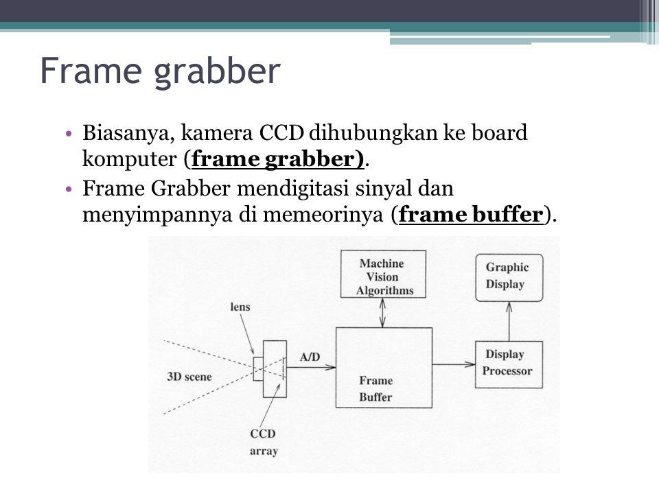 Frame grabber Biasanya, kamera CCD dihubungkan ke board komputer (frame grabber). Frame Grabber mendigitasi sinyal dan menyimpannya di memeorinya (fra