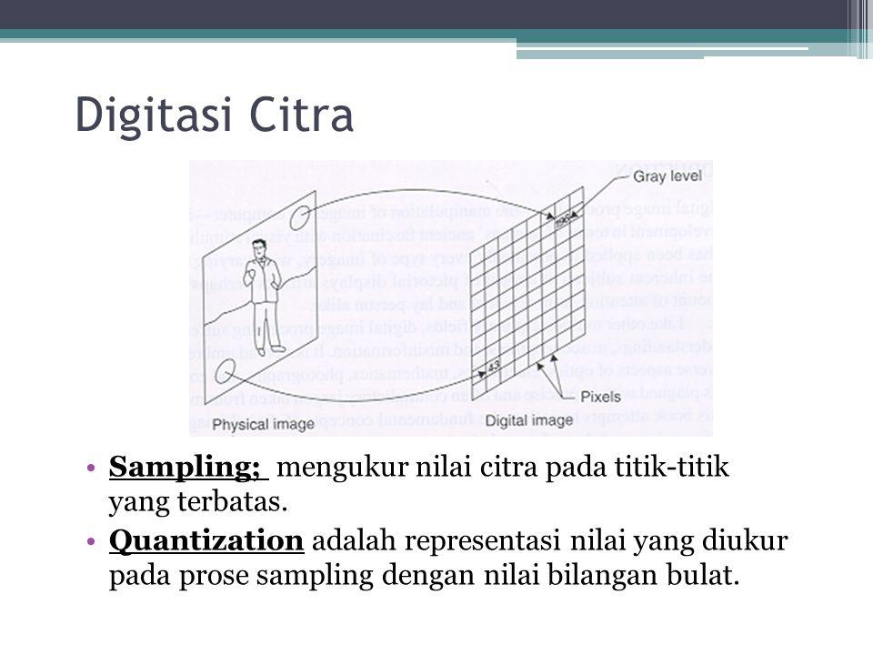 Digitasi Citra Sampling; mengukur nilai citra pada titik-titik yang terbatas. Quantization adalah representasi nilai yang diukur pada prose sampling d