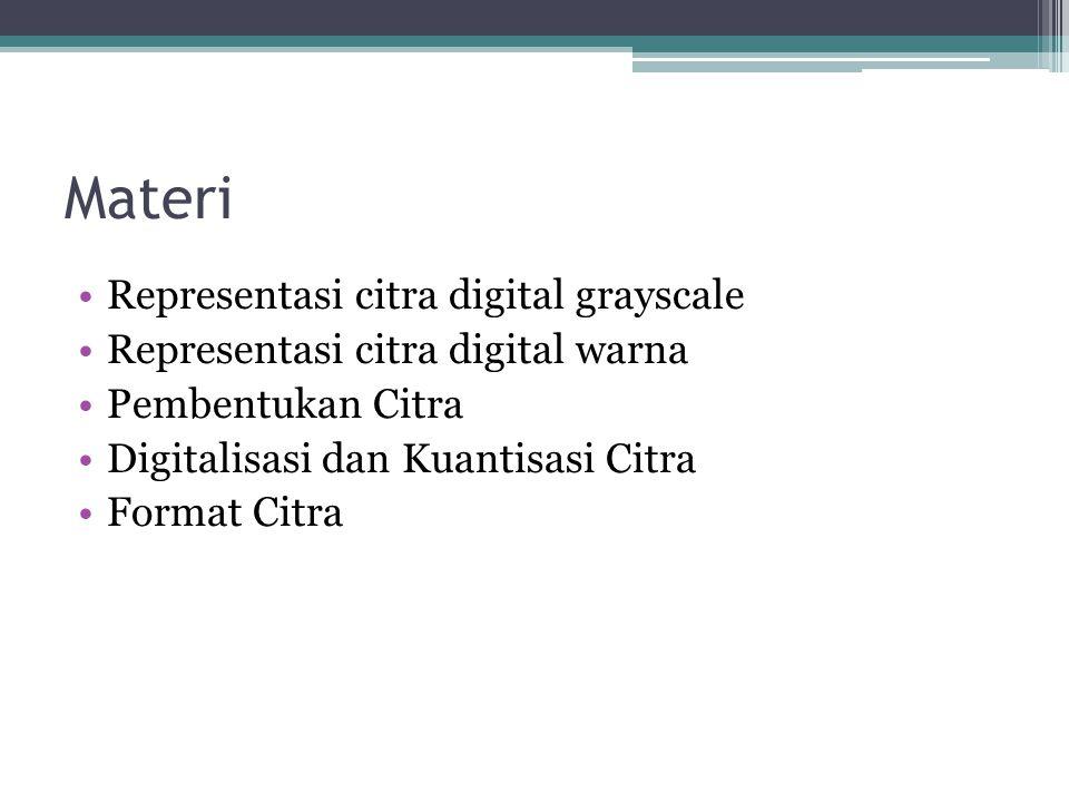 Materi Representasi citra digital grayscale Representasi citra digital warna Pembentukan Citra Digitalisasi dan Kuantisasi Citra Format Citra
